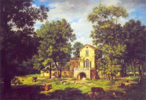 Widok pałacu w Natolinie z holendernią (1833).