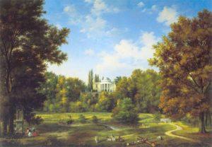 Widok pałacu w Natolinie od strony parku 1834. Muzeum Narodowe w Warszawie.