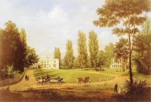Widok pałacu w Natolinie od strony dziedzińca Przed 1834. Muzeum Narodowe w Warszawie.