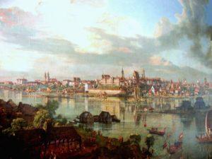 Canaletto - Widok Warszawy od strony Pragi (1770). Widoczny wysoki dach Katedry św. Jana